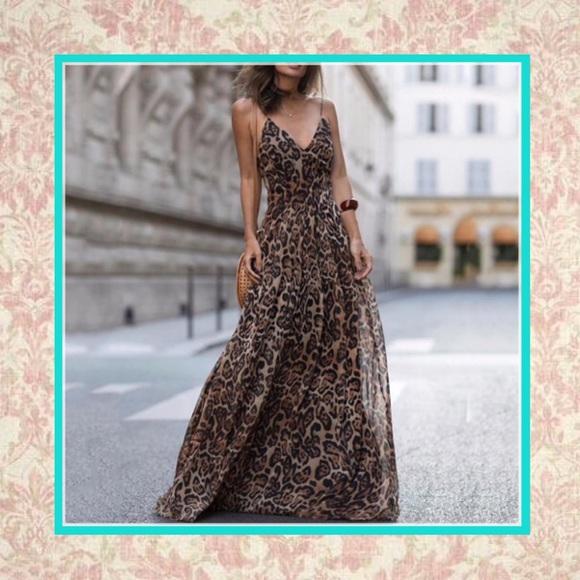 e5317ffad8 🍒ANIMAL PRINT LEOPARD MAXI LONG DRESS